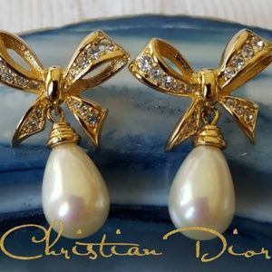 Vintage Christian Dior Faux Pearl Drop Earrings